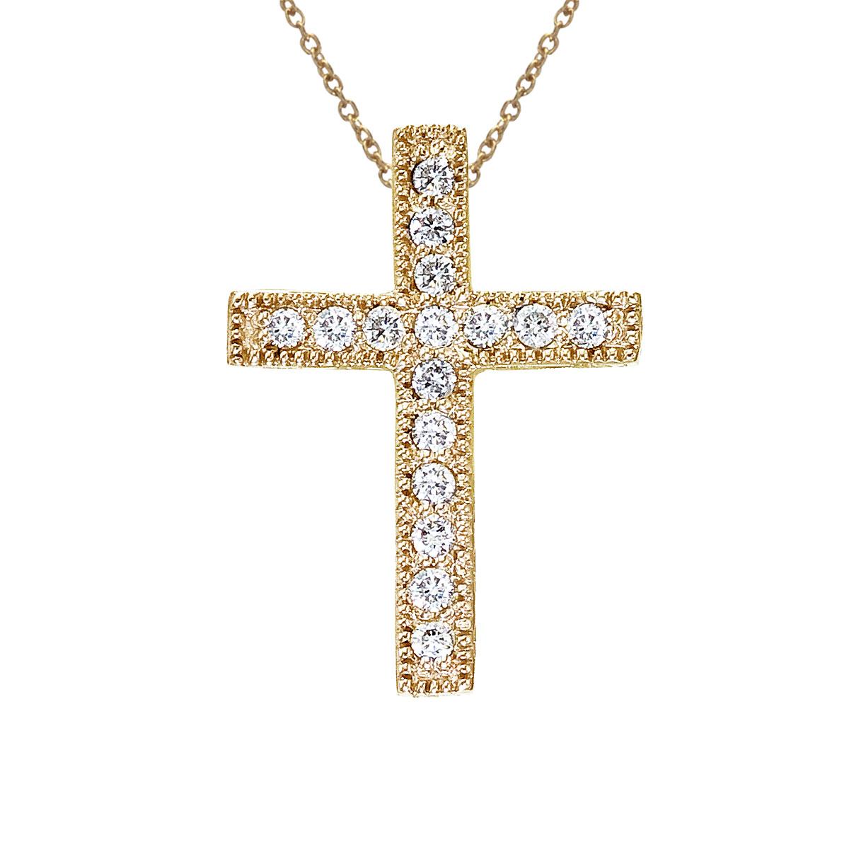 14K Yellow Gold .16 Ct Scroll Diamond Cross Pendant