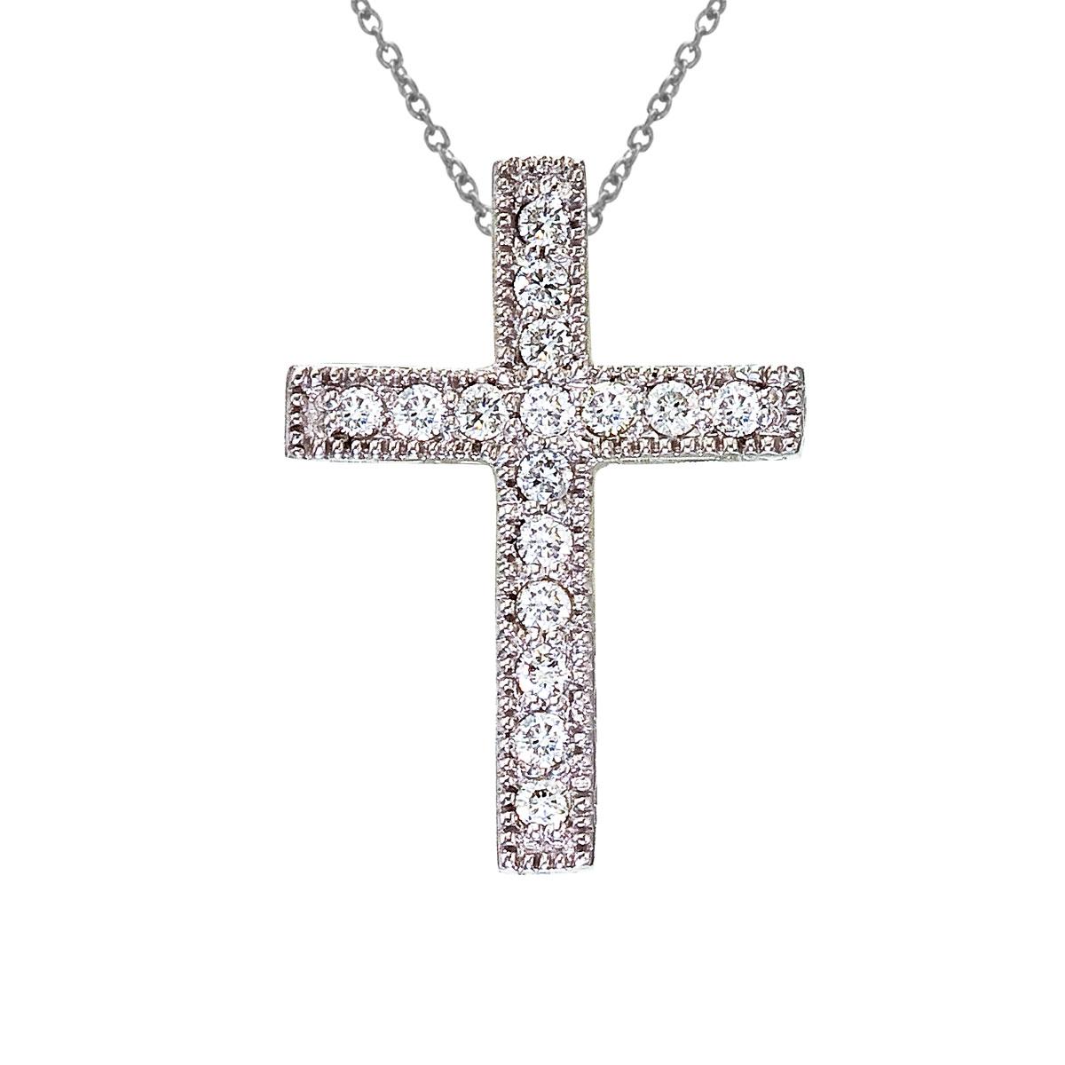 14K White Gold Medium Diamond Scroll Cross Pendant