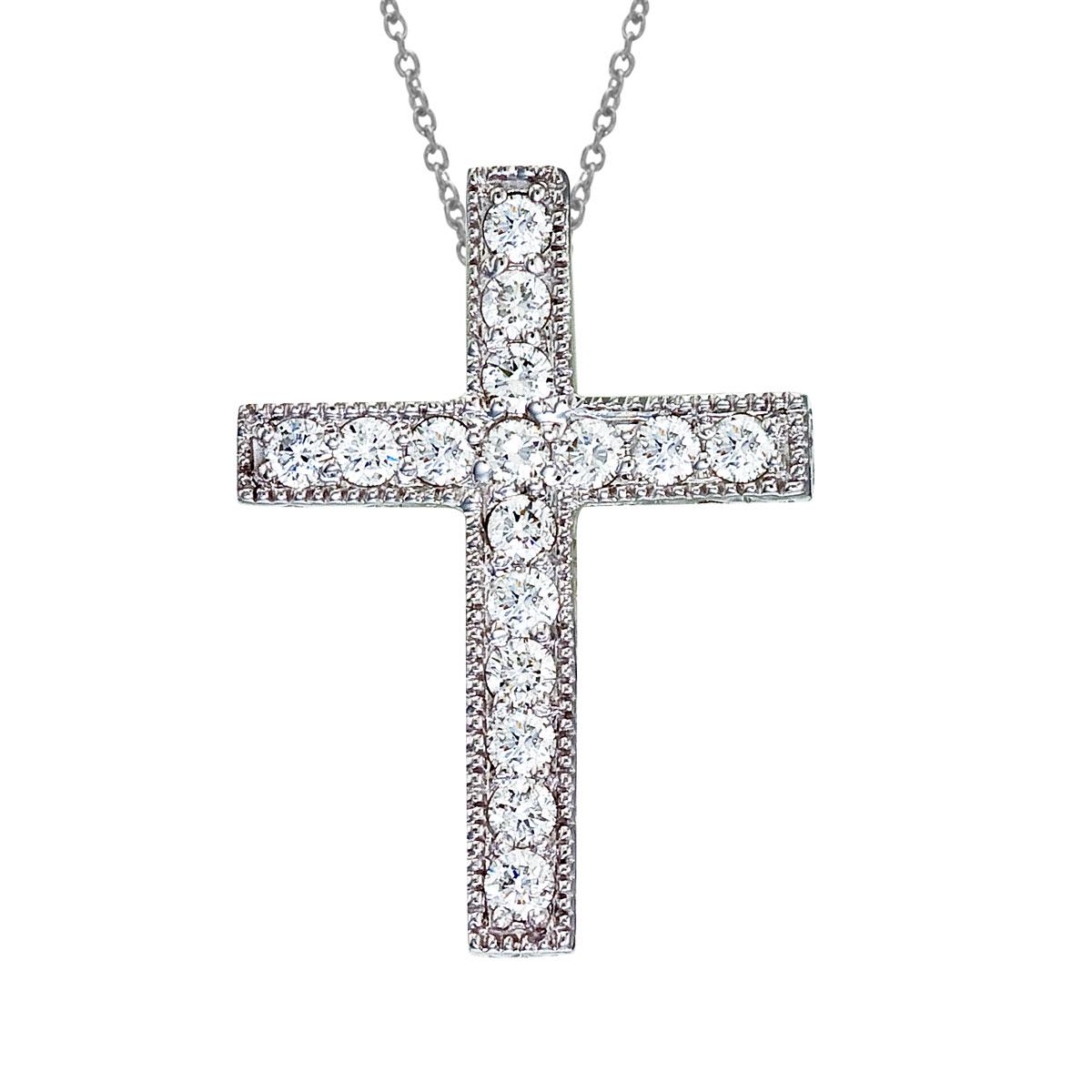 14K White Gold Large Scroll .50 Ct Diamond Cross Pendant
