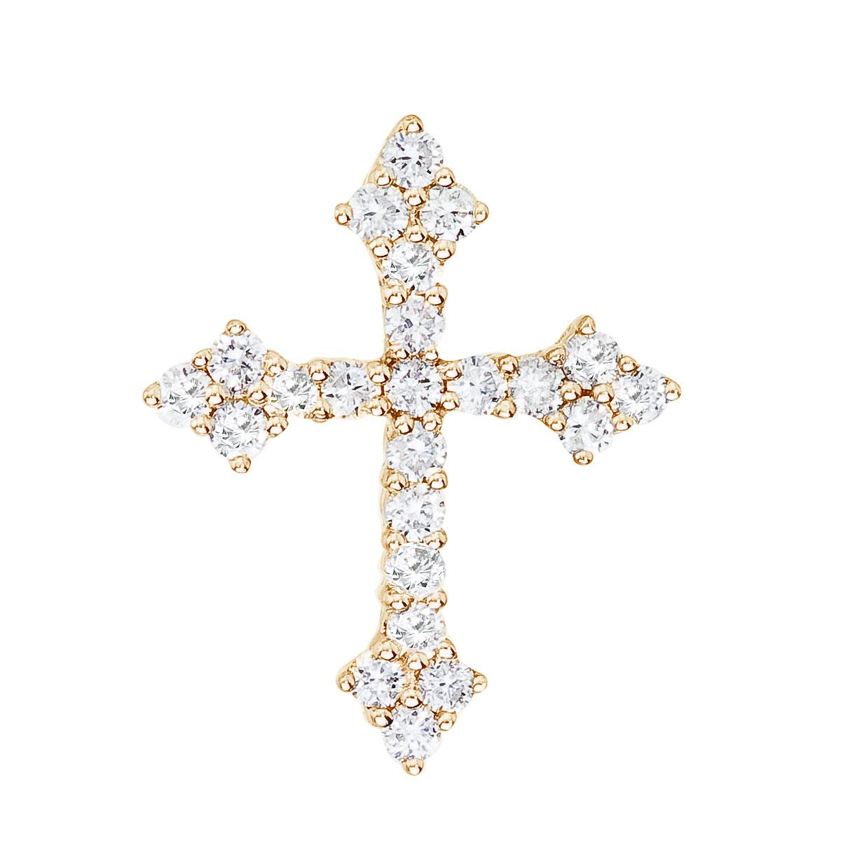 14K Yellow Gold .53 Ct Diamond Cross Pendant