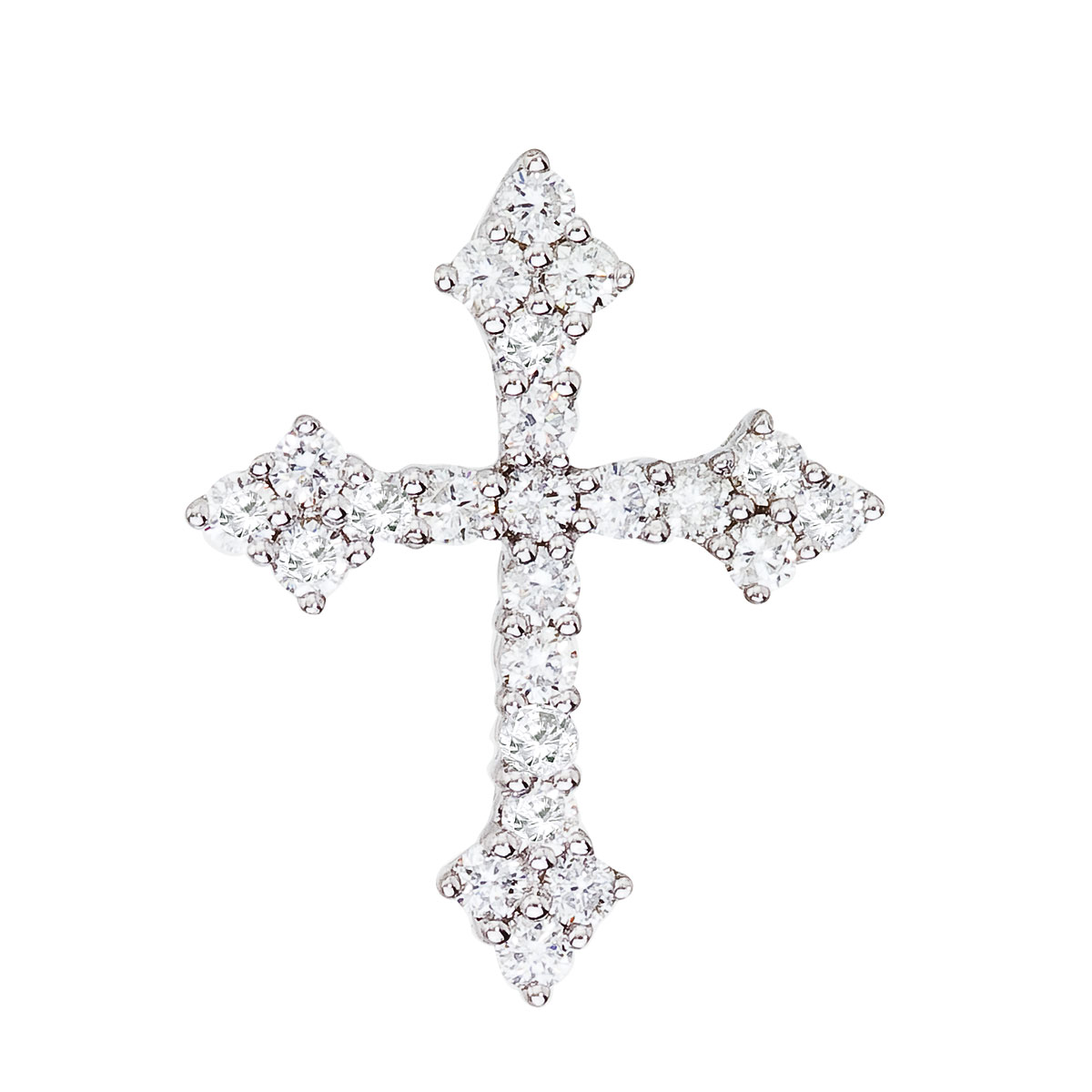 14K White Gold .53 Ct Diamond Cross Pendant