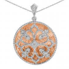 14k Rose Gold and White Gold Diamond Fashion Pendant