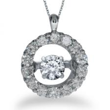 14K White Gold Dashing Diamonds Heartbeat Pendant