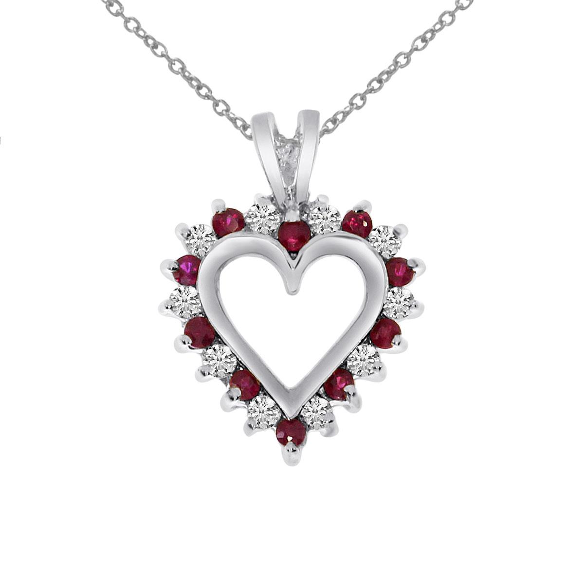 14k White Gold Ruby and Diamond Heart Shaped Pendant