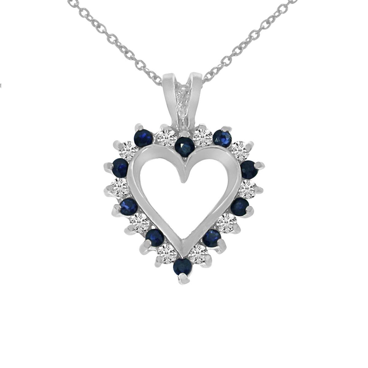 14k White Gold Sapphire and Diamond Heart Shaped Pendant