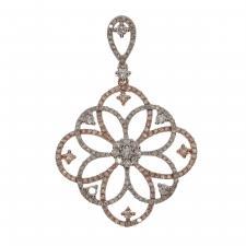 Two Tone Diamond Floral Pendant