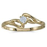 10k Yellow Gold Round Aquamarine Ring
