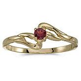 14k Yellow Gold Round Garnet Ring