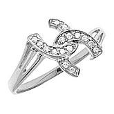 10K White Gold Diamond Horseshoe Ring