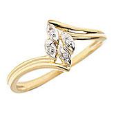 14K Yellow Gold Diamond Leaf Ring