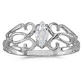10k White Gold Marquise White Topaz Filagree Ring