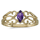 14k Yellow Gold Marquise Amethyst Filagree Ring