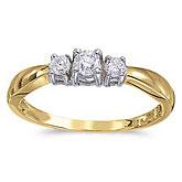 14k Yellow Gold 0.25 Ct Three Stone Diamond Ring