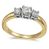 14k Yellow Gold 0.50 Ct Three Stone Diamond Ring