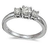 14k White Gold 0.50 Ct Three Stone Diamond Ring