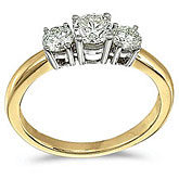 14k Yellow Gold 0.75 Ct Three Stone Diamond Ring