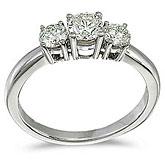 14k White Gold 0.75 Ct Three Stone Diamond Ring