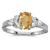 14k White Gold Oval Citrine And Diamond Ring