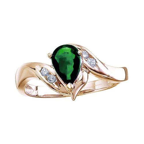 14k Yellow Gold Pear Emerald And Diamond Swirl Ring