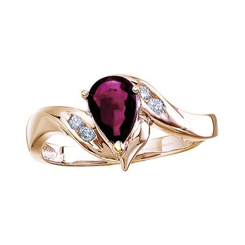14k Yellow Gold Pear Ruby And Diamond Swirl Ring