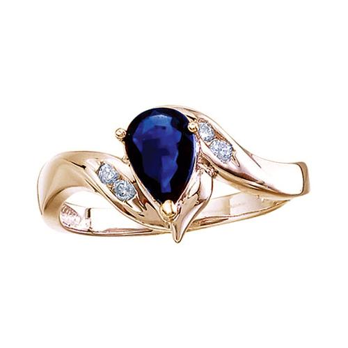 14k Yellow Gold Pear Sapphire And Diamond Swirl Ring