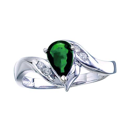 14k White Gold Pear Emerald And Diamond Swirl Ring