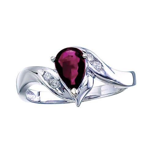 14k White Gold Pear Ruby And Diamond Swirl Ring