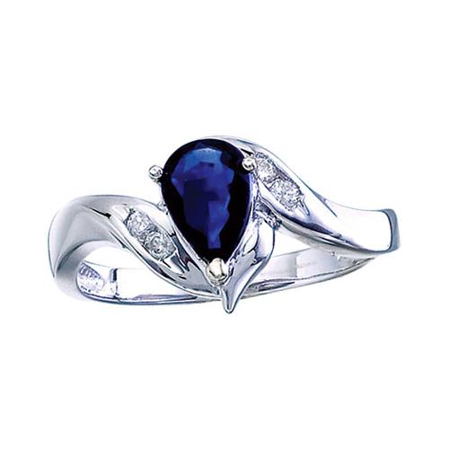 14k White Gold Pear Sapphire And Diamond Swirl Ring