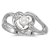 14k White Gold Pearl And Diamond Heart Ring