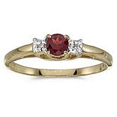 10k Yellow Gold Round Garnet And Diamond Ring
