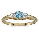 10k Yellow Gold Round Blue Topaz And Diamond Ring