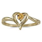 14k Yellow Gold Round Citrine Heart Ring