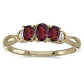 10k Yellow Gold Oval Garnet And Diamond Three Stone Ring