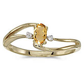 14k Yellow Gold Oval Citrine And Diamond Wave Ring