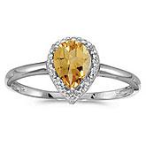 10k White Gold Pear Citrine And Diamond Ring