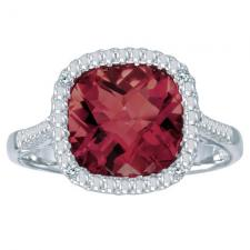 14k White Gold Cushion Cut Garnet And Diamond Ring