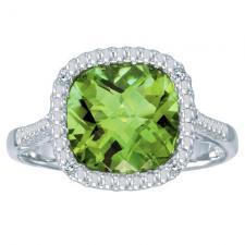 14k White Gold Cushion Cut Peridot And Diamond Ring