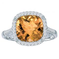 14k White Gold Cushion Cut Citrine And Diamond Ring