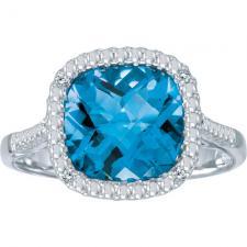 14k White Gold Cushion Blue Topaz and Diamond Ring