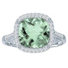 14k White Gold Cushion Cut Green Amethyst And Diamond Ring