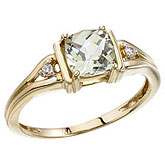 14K Yellow Gold Green Amethyst and Diamond Ring