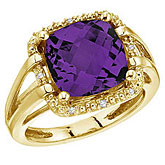 14K Yellow Gold 10 mm Amethyst and Diamond Rope Ring