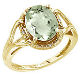 14K Yellow Gold 10x8 Oval Checkerboard Green Amethyst and Diamond Ring