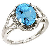 14K White Gold 10x8 Oval Blue Topaz and Diamond Rope Ring