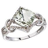 14K White Gold Green Amethyst and Diamond Cushion Ring