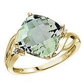 14K Yellow Gold 10 mm Cushion Green Amethyst and Diamond Ring