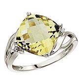 14K White Gold 10 mm Cushion Lemon Quartz and Diamond Ring