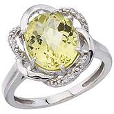 14K White Gold 11x9 Oval Lemon Quartz and Diamond Swirl Ring