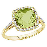 14K Yellow Gold 8 mm Cushion Peridot and Diamond Ring