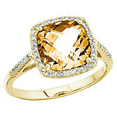 14K Yellow Gold 8 mm Cushion Citrine and Diamond Ring